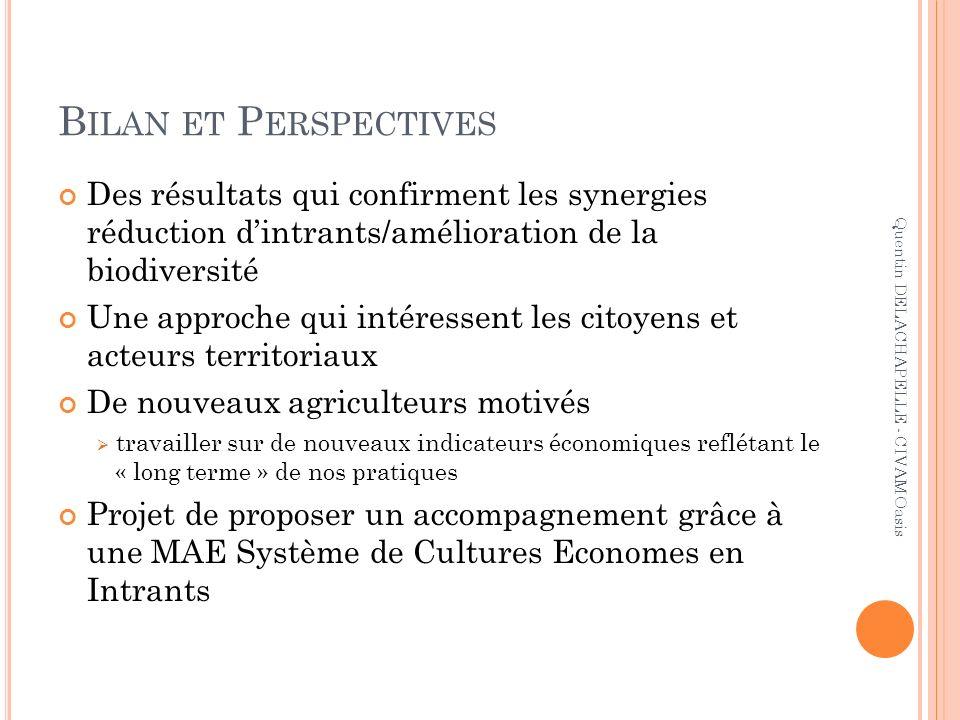 Bilan et Perspectives Des résultats qui confirment les synergies réduction d'intrants/amélioration de la biodiversité.