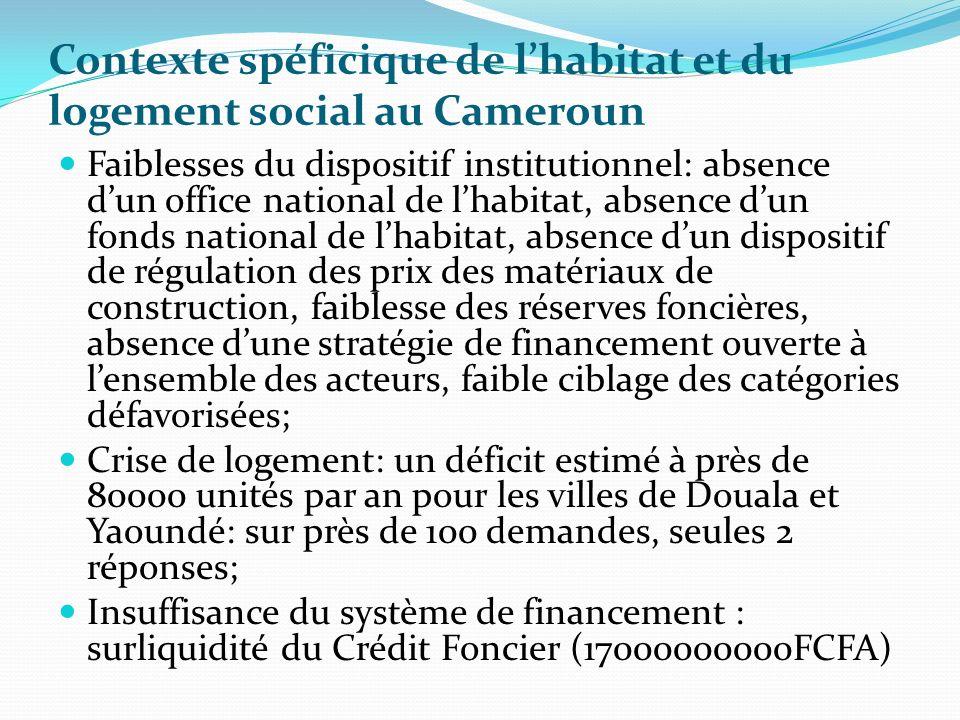 Contexte spéficique de l'habitat et du logement social au Cameroun