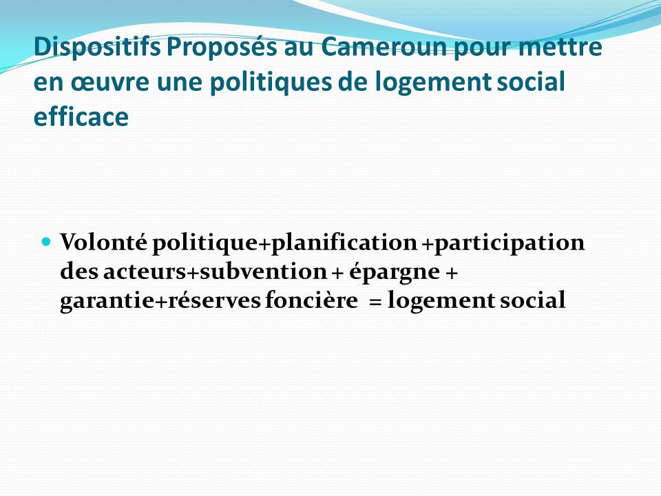 Dispositifs Proposés au Cameroun pour mettre en œuvre une politiques de logement social efficace