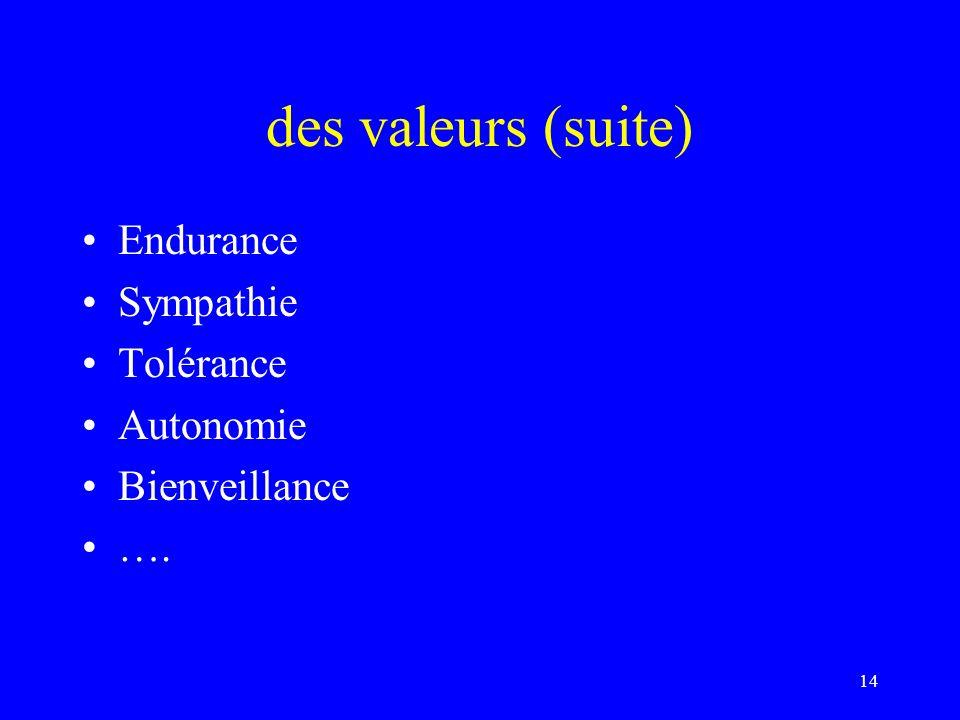 des valeurs (suite) Endurance Sympathie Tolérance Autonomie