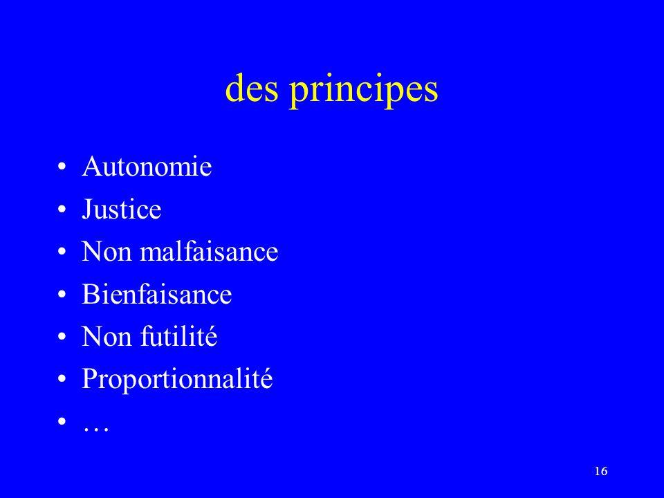 des principes Autonomie Justice Non malfaisance Bienfaisance