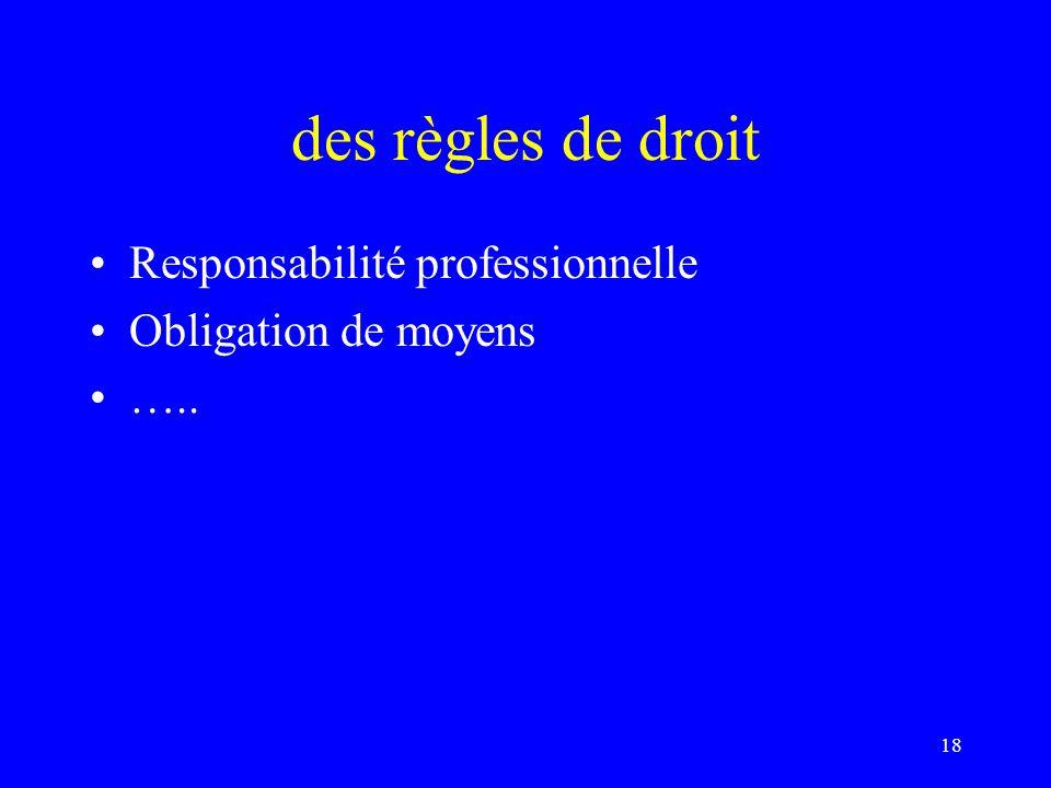 des règles de droit Responsabilité professionnelle