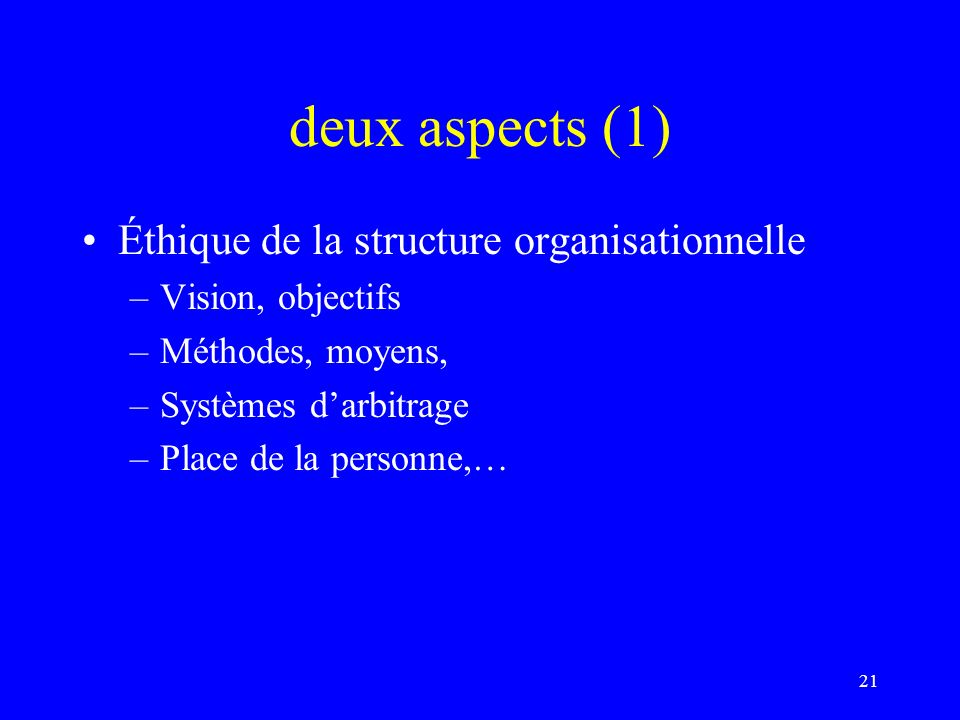 deux aspects (1) Éthique de la structure organisationnelle