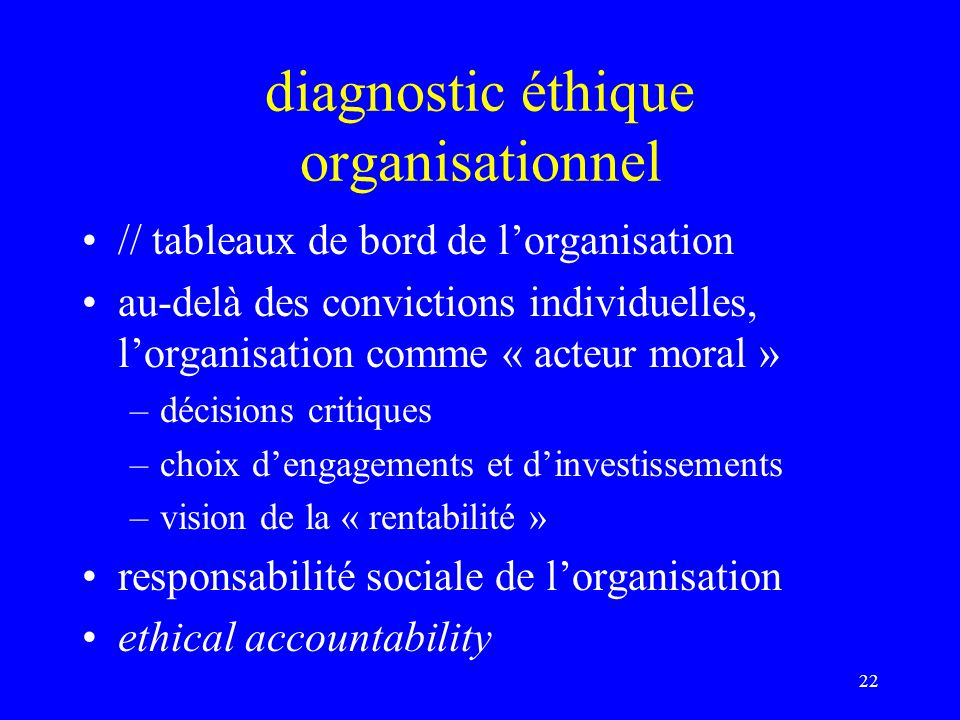 diagnostic éthique organisationnel
