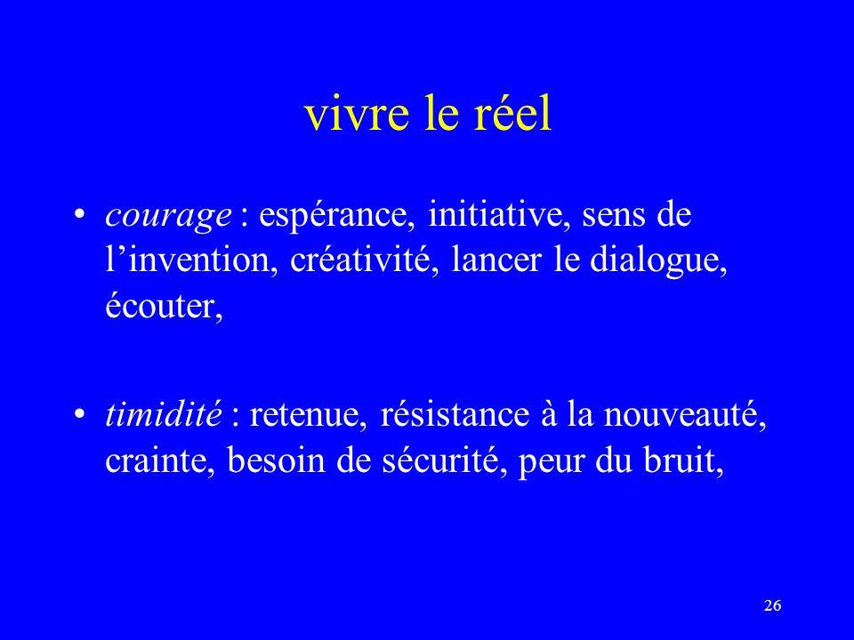 vivre le réel courage : espérance, initiative, sens de l'invention, créativité, lancer le dialogue, écouter,