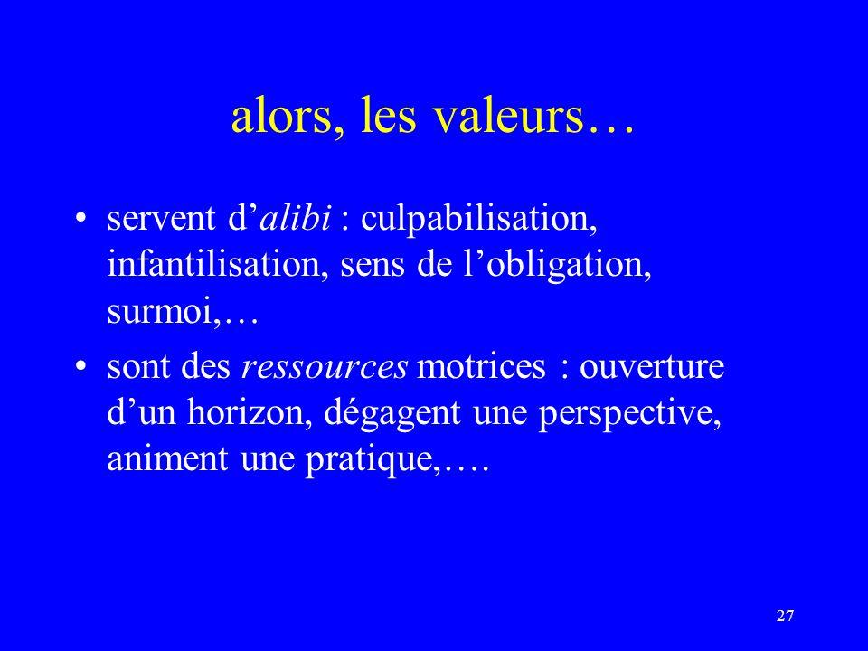 alors, les valeurs… servent d'alibi : culpabilisation, infantilisation, sens de l'obligation, surmoi,…