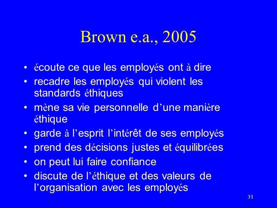 Brown e.a., 2005 écoute ce que les employés ont à dire