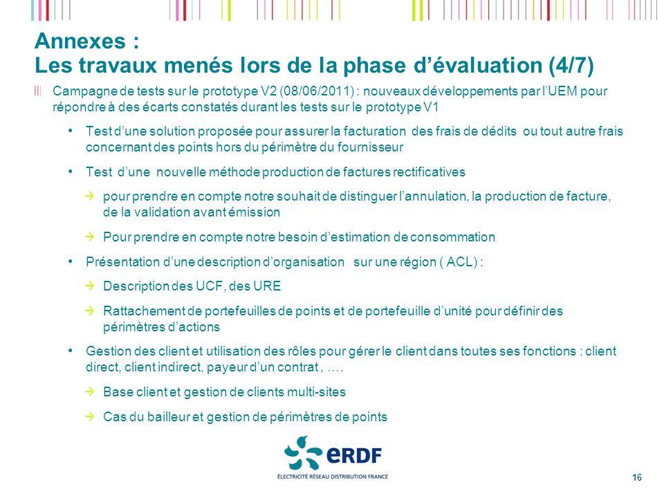 Annexes : Les travaux menés lors de la phase d'évaluation (4/7)