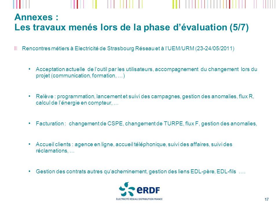 Annexes : Les travaux menés lors de la phase d'évaluation (5/7)