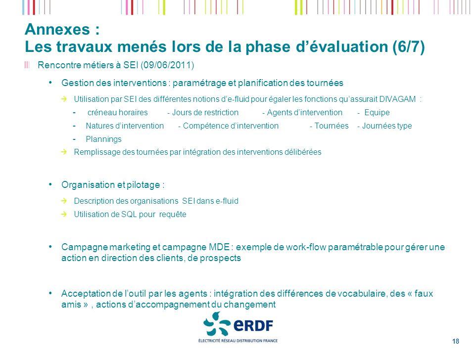 Annexes : Les travaux menés lors de la phase d'évaluation (6/7)