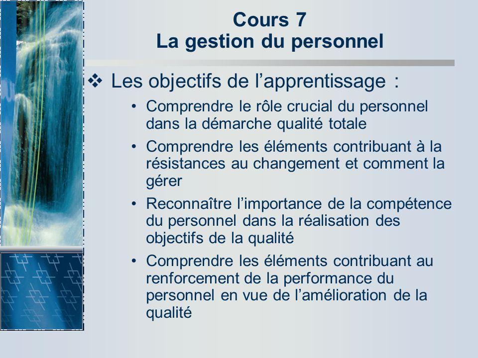 Cours 7 La gestion du personnel