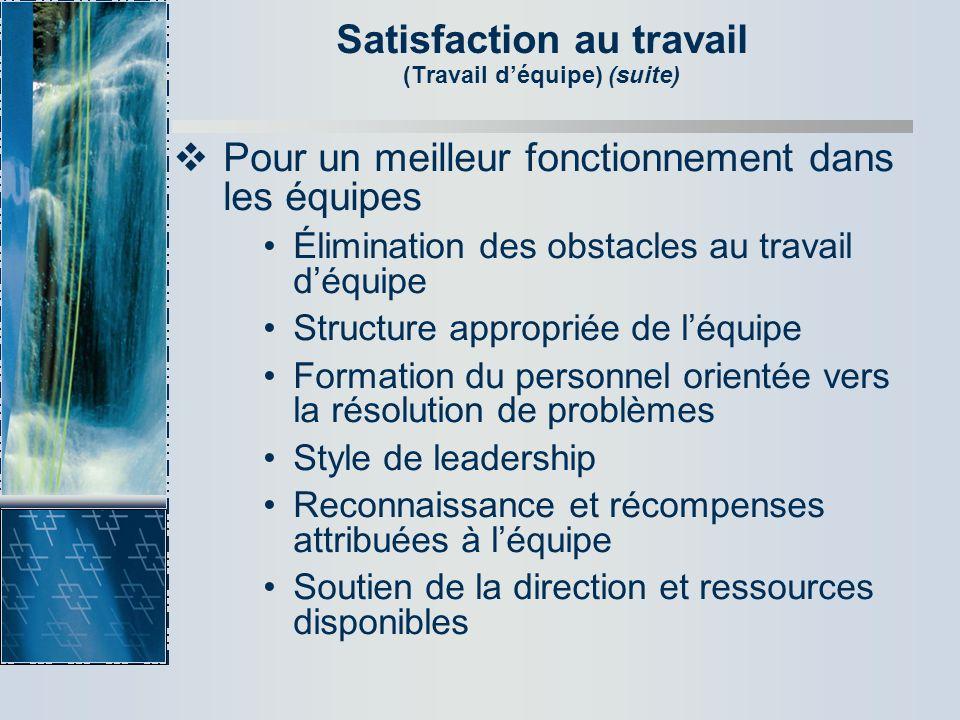 Satisfaction au travail (Travail d'équipe) (suite)