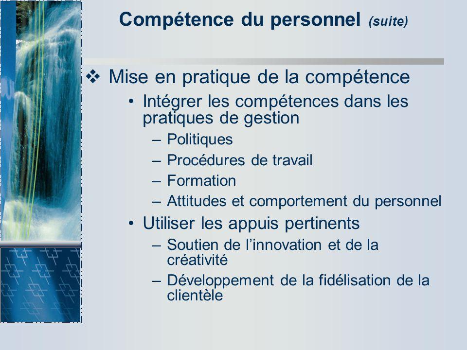 Compétence du personnel (suite)