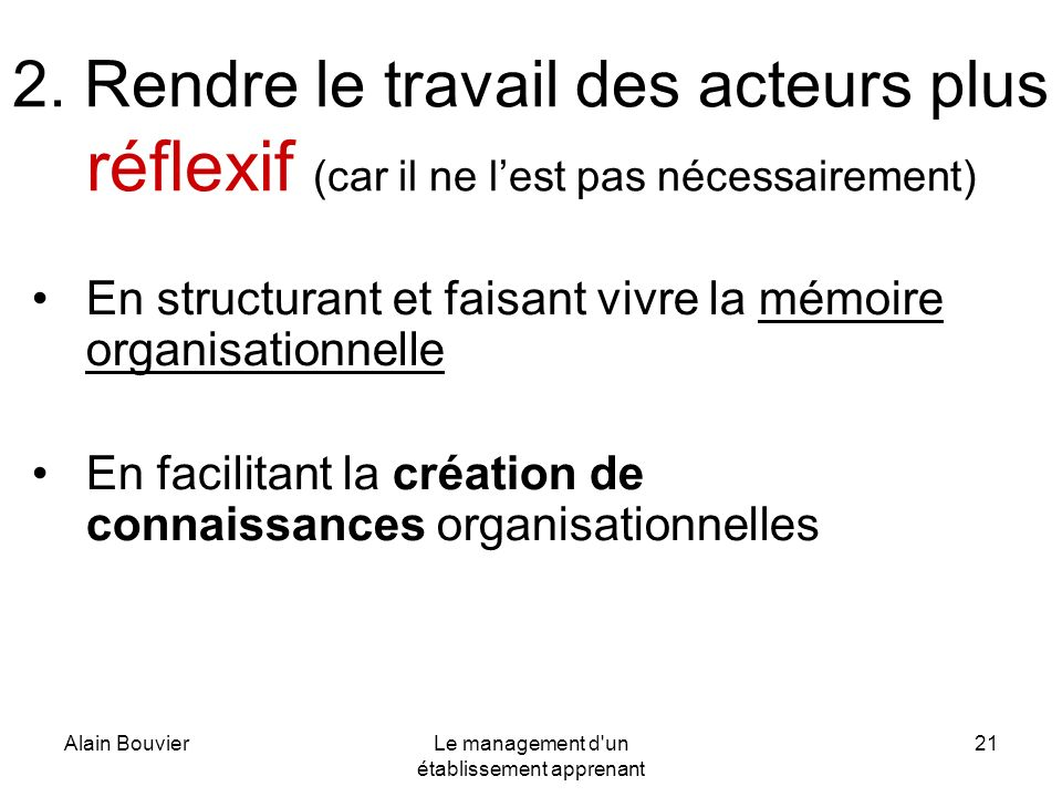 Le management d un établissement apprenant