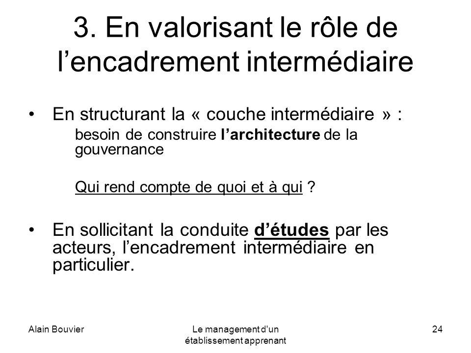 3. En valorisant le rôle de l'encadrement intermédiaire