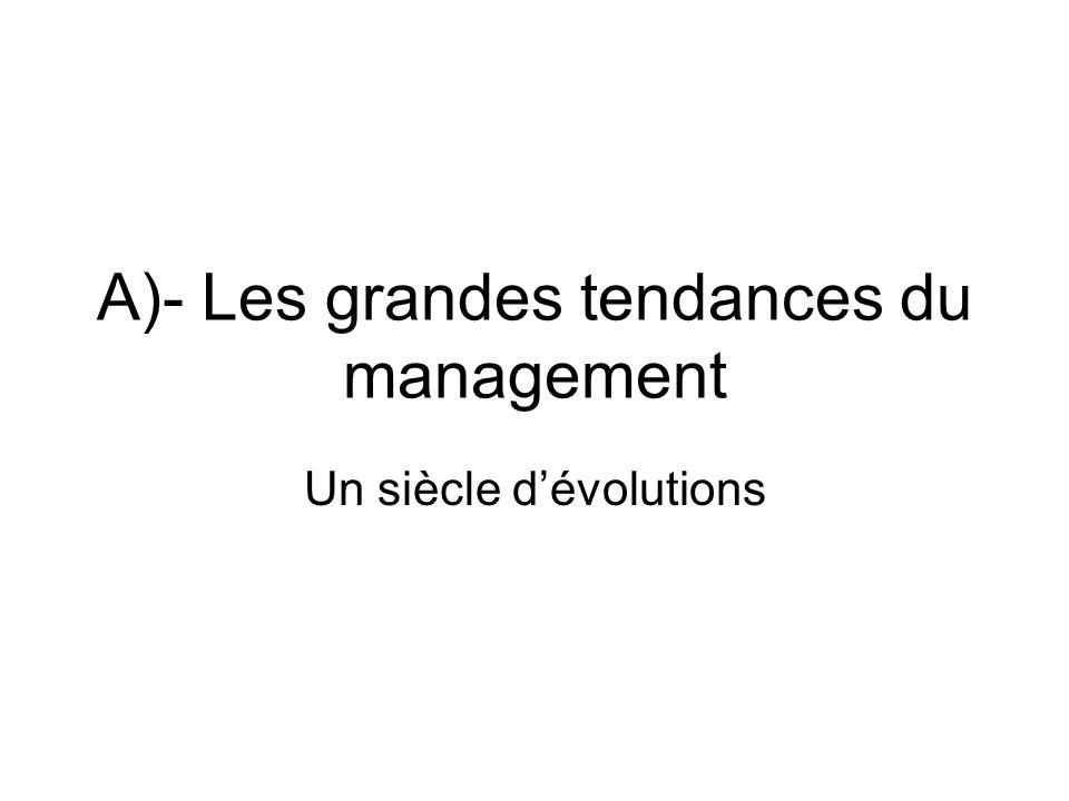 A)- Les grandes tendances du management