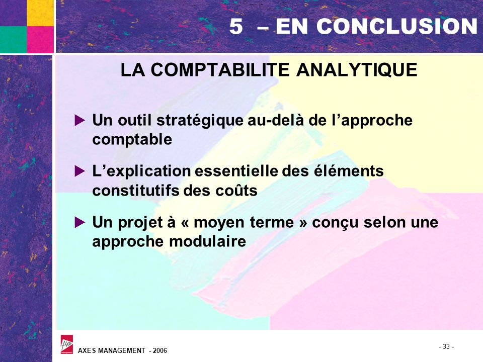 LA COMPTABILITE ANALYTIQUE