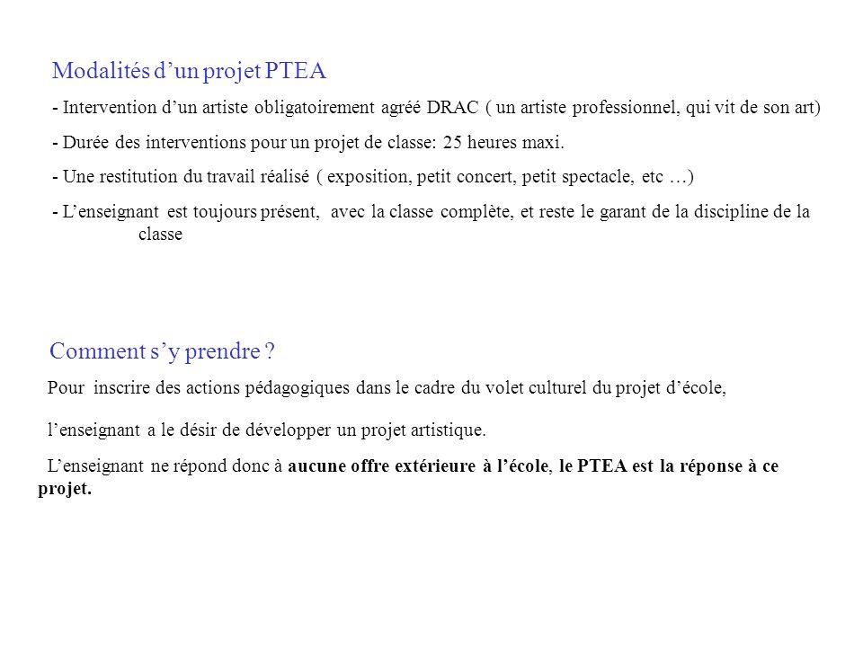 Modalités d'un projet PTEA