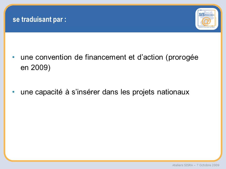 se traduisant par : une convention de financement et d'action (prorogée en 2009) une capacité à s'insérer dans les projets nationaux.