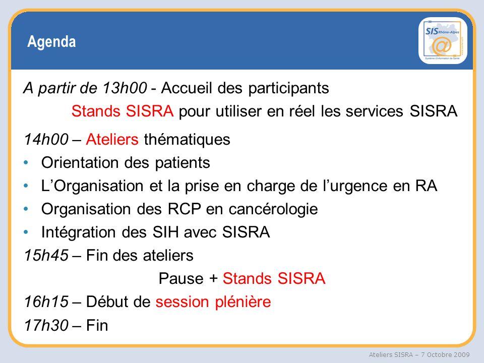 Agenda A partir de 13h00 - Accueil des participants. Stands SISRA pour utiliser en réel les services SISRA.