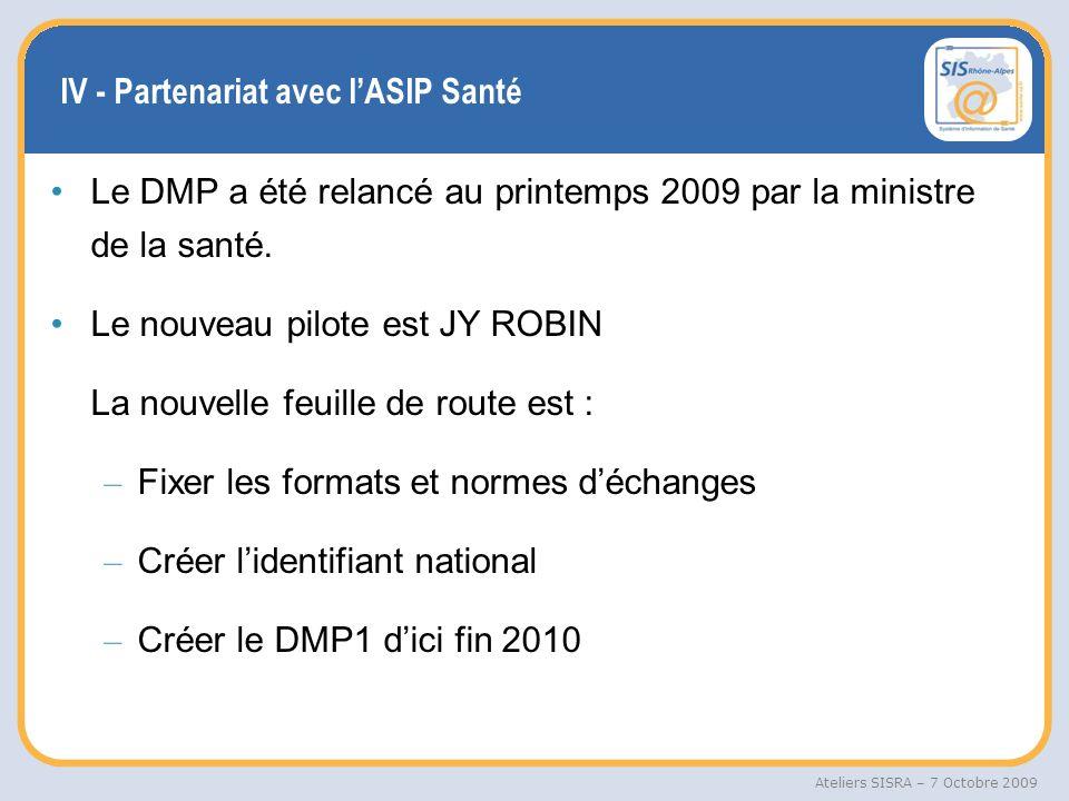 IV - Partenariat avec l'ASIP Santé
