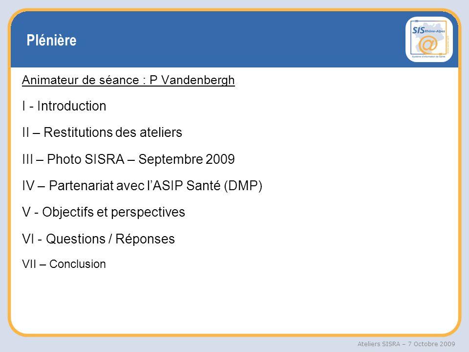 Plénière I - Introduction II – Restitutions des ateliers