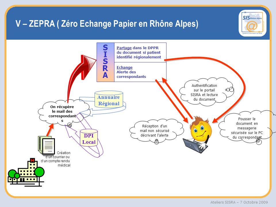 V – ZEPRA ( Zéro Echange Papier en Rhône Alpes)