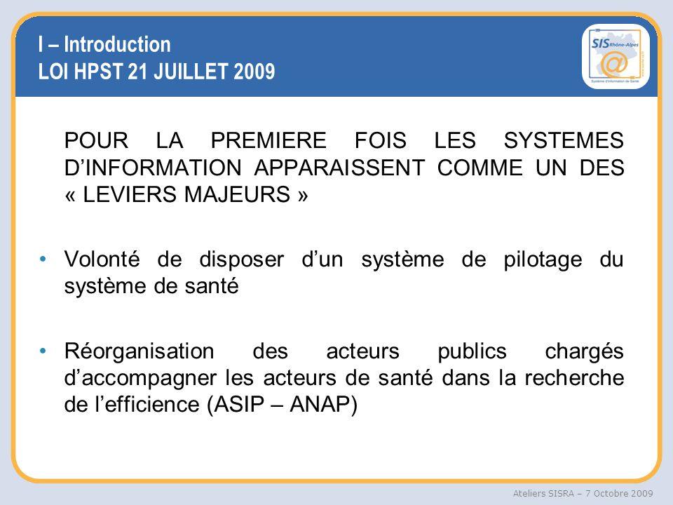 I – Introduction LOI HPST 21 JUILLET 2009