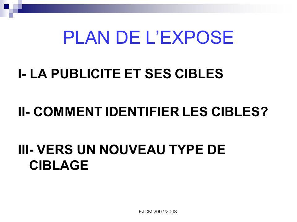 PLAN DE L'EXPOSE I- LA PUBLICITE ET SES CIBLES