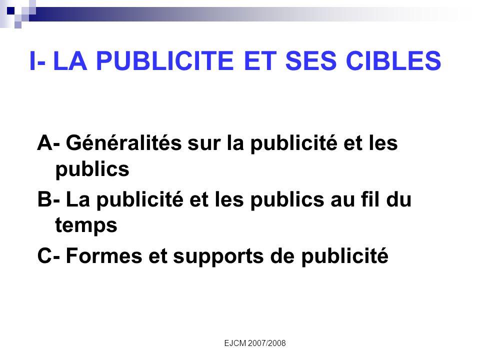 I- LA PUBLICITE ET SES CIBLES