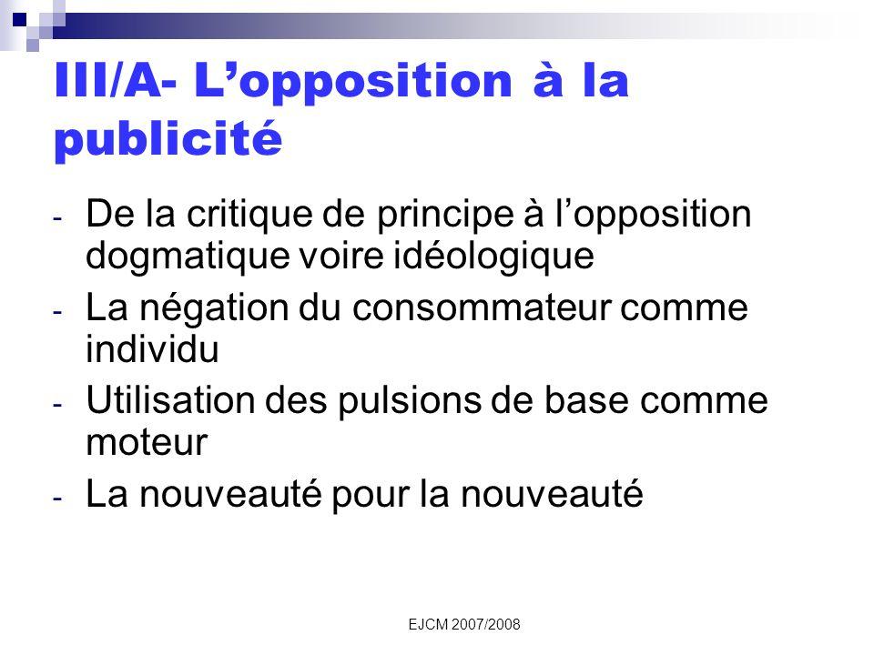 III/A- L'opposition à la publicité