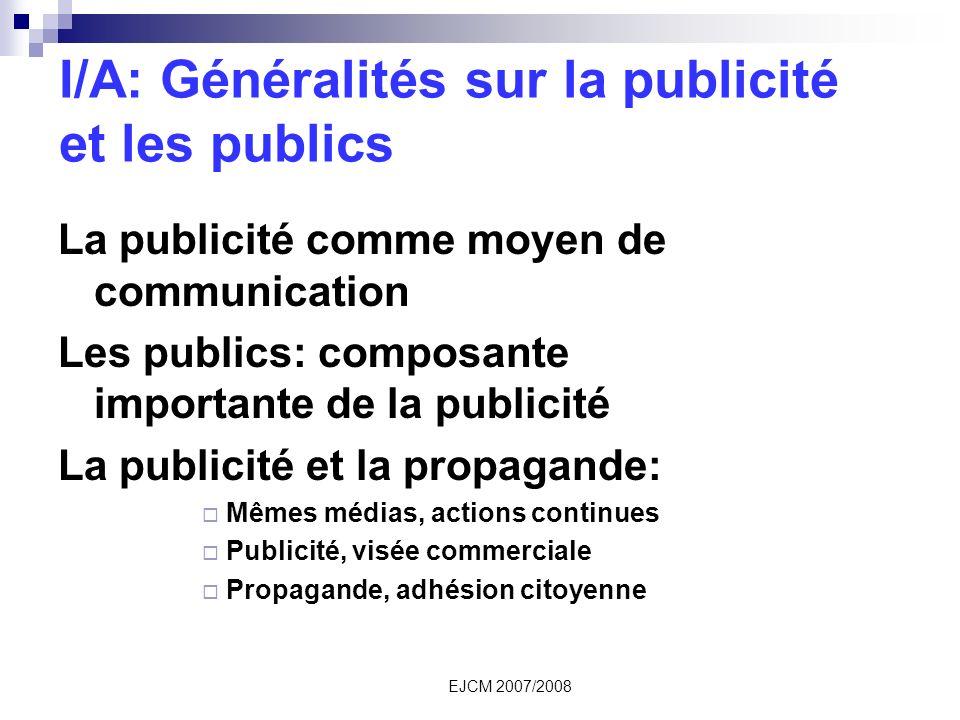I/A: Généralités sur la publicité et les publics