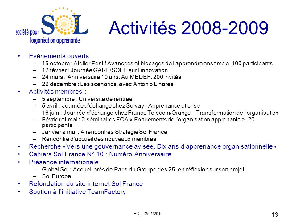 Activités 2008-2009 Evénements ouverts Activités membres :