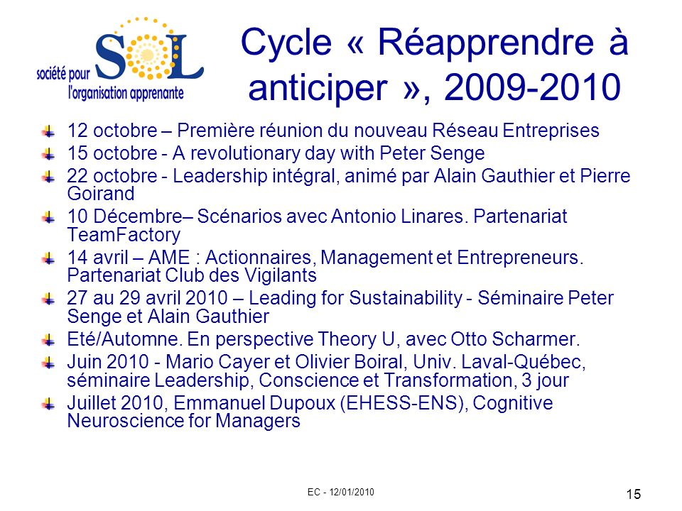 Cycle « Réapprendre à anticiper », 2009-2010