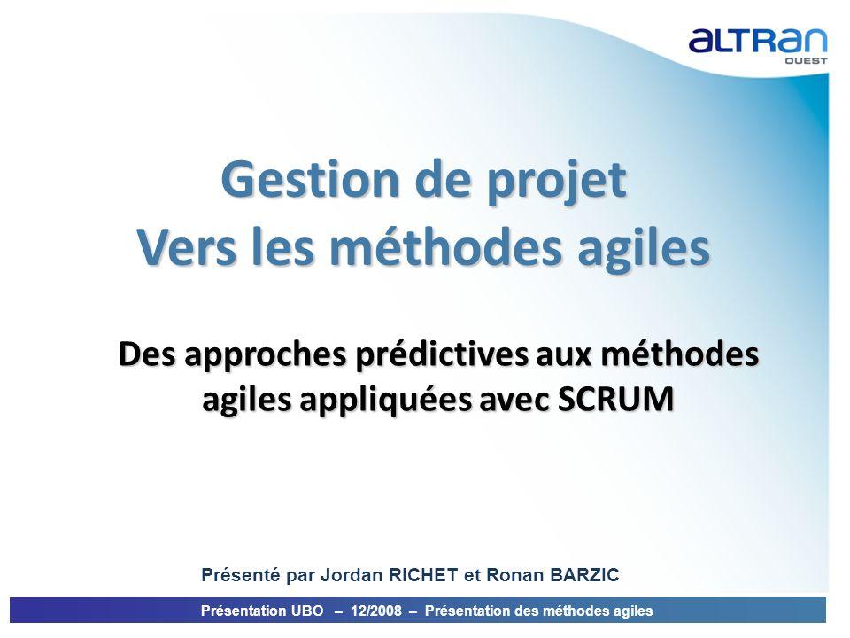 Gestion de projet Vers les méthodes agiles