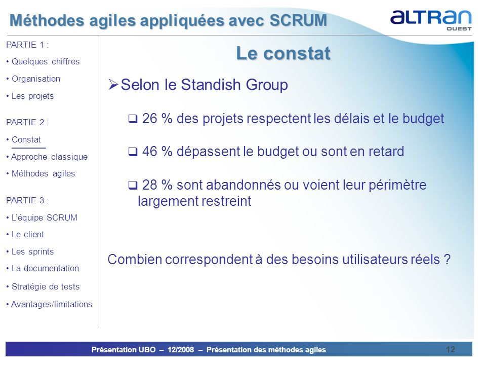 Le constat Selon le Standish Group