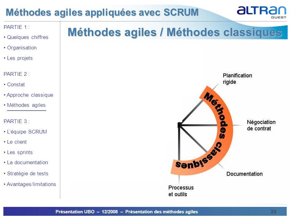 Méthodes agiles / Méthodes classiques