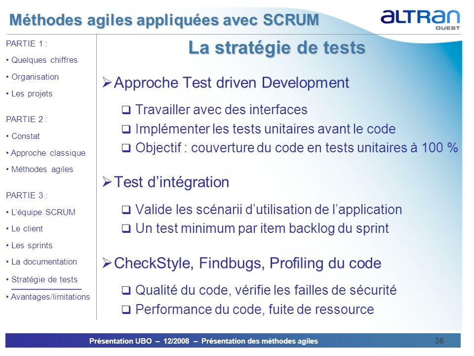 La stratégie de tests Approche Test driven Development