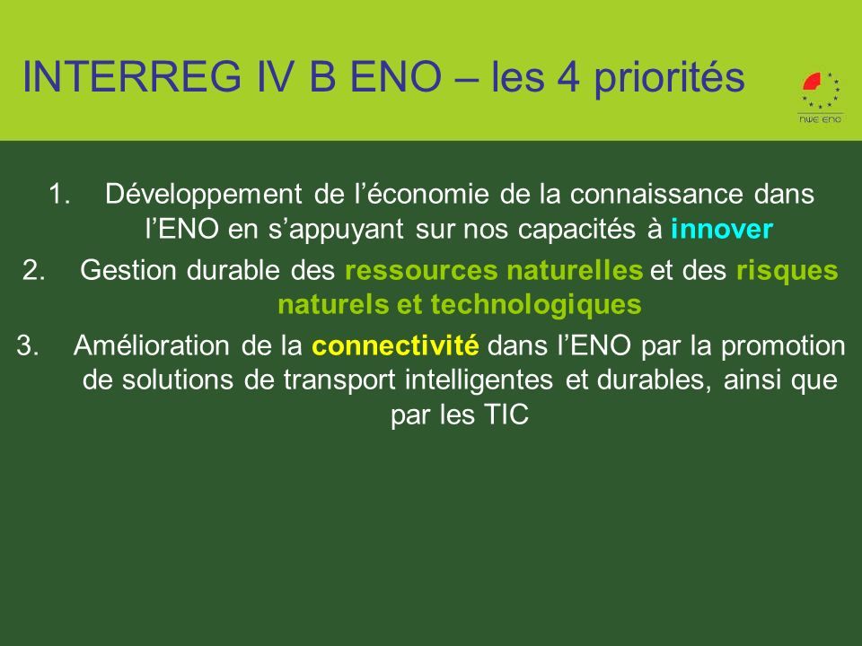 INTERREG IV B ENO – les 4 priorités