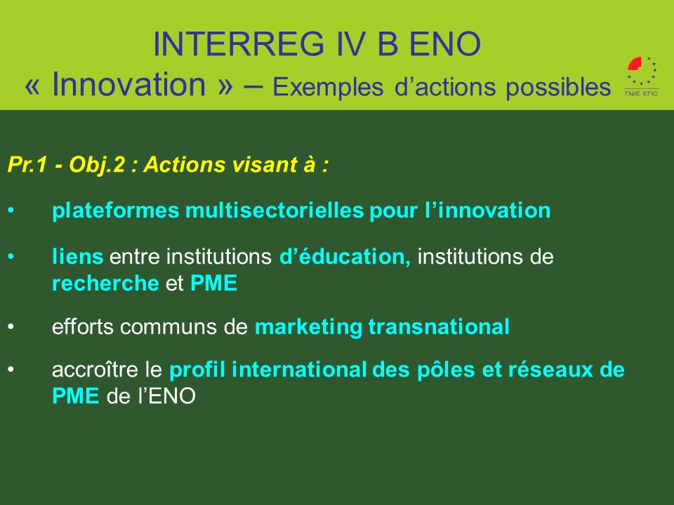 INTERREG IV B ENO « Innovation » – Exemples d'actions possibles