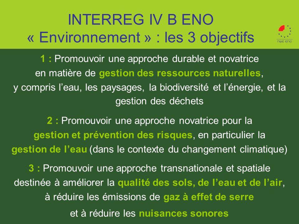 INTERREG IV B ENO « Environnement » : les 3 objectifs