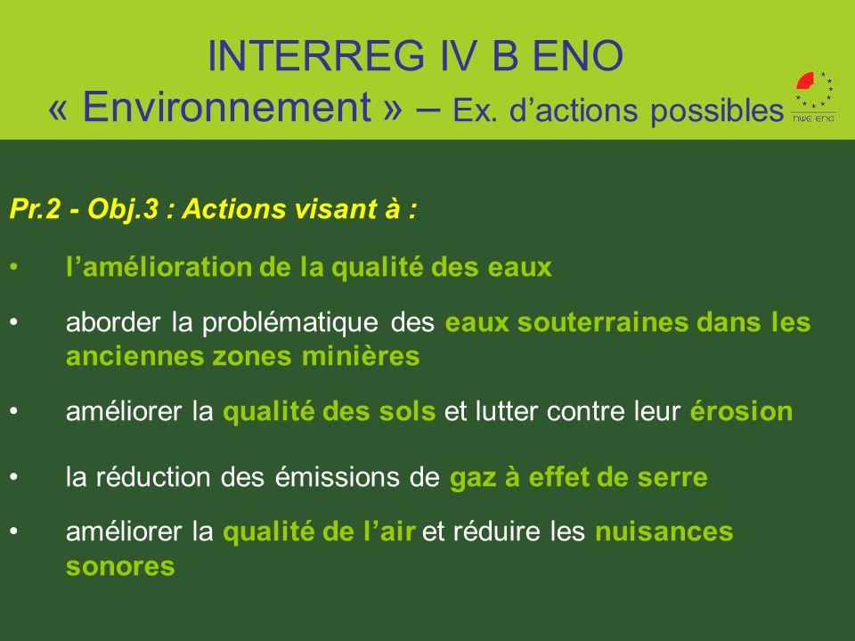 INTERREG IV B ENO « Environnement » – Ex. d'actions possibles