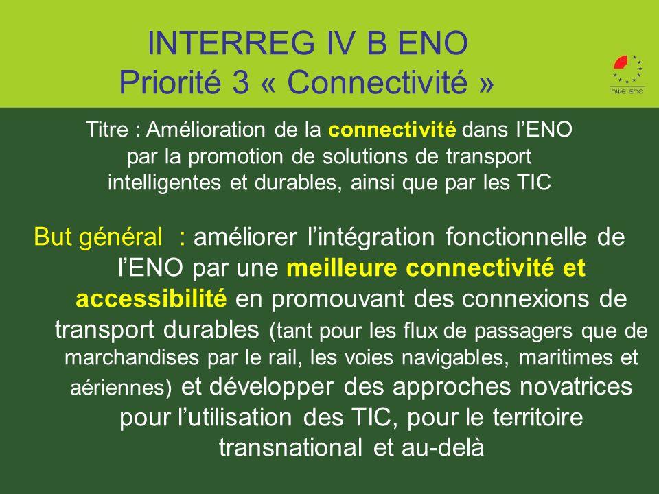 INTERREG IV B ENO Priorité 3 « Connectivité »