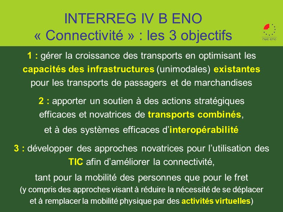 INTERREG IV B ENO « Connectivité » : les 3 objectifs