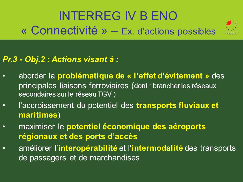 INTERREG IV B ENO « Connectivité » – Ex. d'actions possibles
