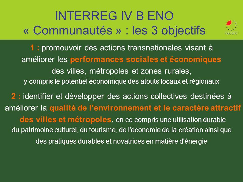 INTERREG IV B ENO « Communautés » : les 3 objectifs