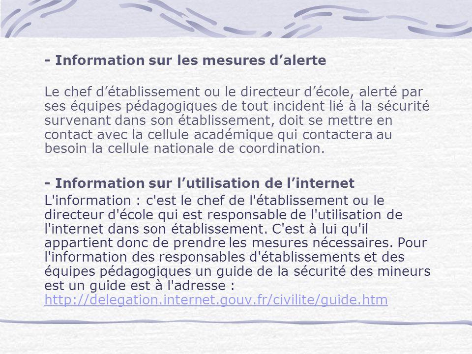 - Information sur les mesures d'alerte