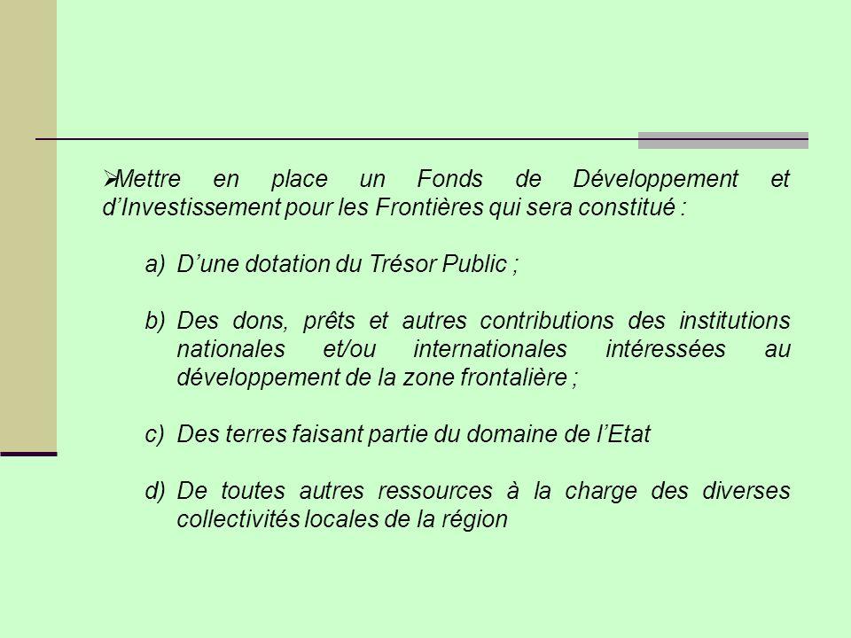 Mettre en place un Fonds de Développement et d'Investissement pour les Frontières qui sera constitué :