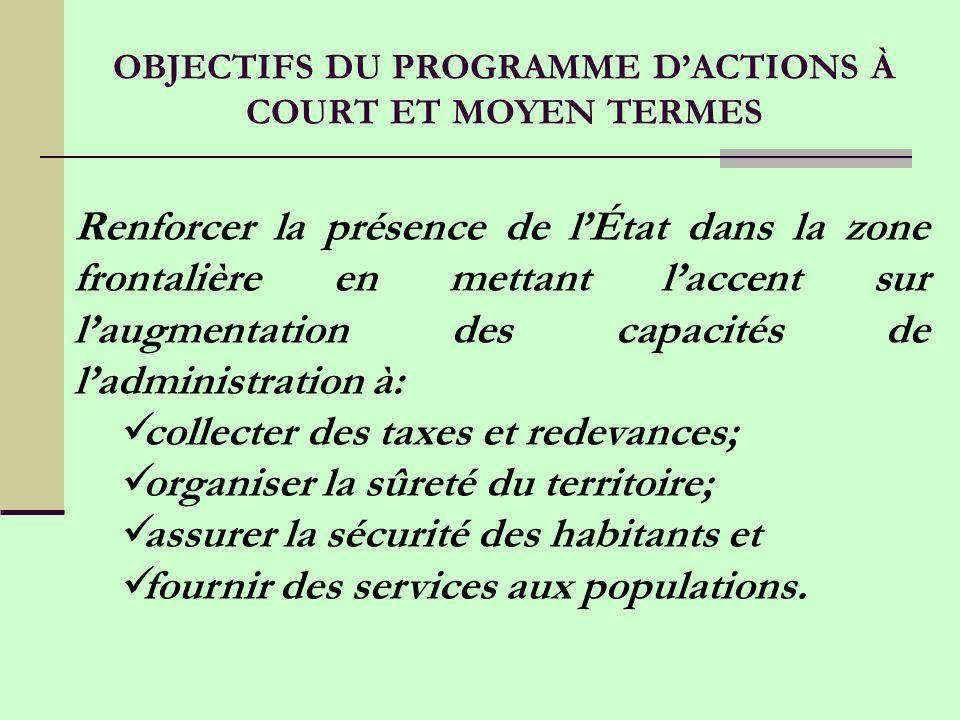 OBJECTIFS DU PROGRAMME D'ACTIONS À COURT ET MOYEN TERMES