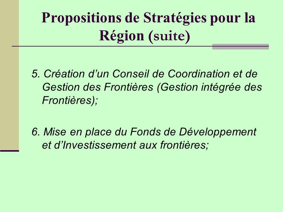 Propositions de Stratégies pour la Région (suite)